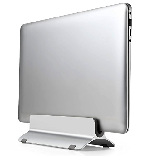 Vertical Laptop Stand Holder - MOTONG MacBook Stand For MacBook Air, MacBook Pro, Notebooks or iPad With Thickness From 0.55 inch to 0.74 inch - Aluminum Alloy(Silver)