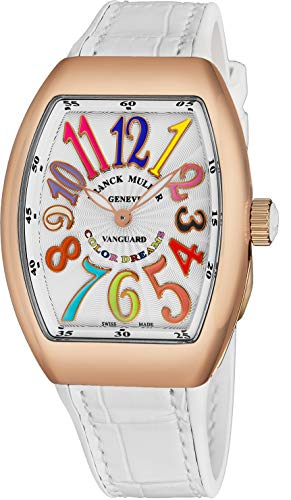 Franck Muller Vanguard Color Dreams Womens 18K Rose Gold Swiss Quartz Watch Tonneau Silver Face with Luminous Hands and Sapphire Crystal White Leather/Rubber Strap Ladies Watch V 32 SC at FO COL DRM