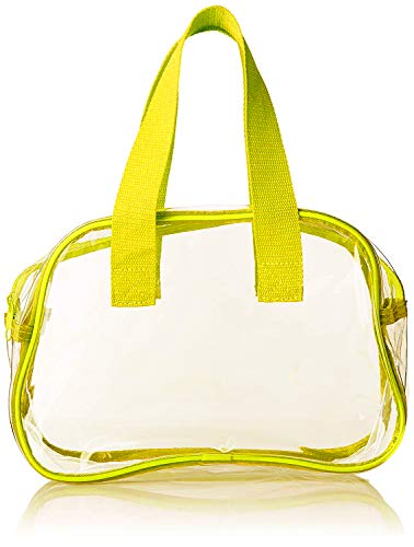 Universal Blended Clear Purse That is Event Stadium Approved/Clear Handbags for Cosmetics, Makeup, and Travel/Clear Bag Made of Transparent Plastic (Yellow)