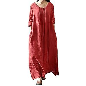 Romacci Vestido Largo Informal de Mujer Vestido Largo de algodón de Manga Larga Boho | DeHippies.com