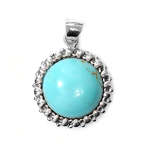 Pendant Simulated Turquoise .925 Sterling Silver Charm - Silver Jewelry Accessories Key Chain Bracelet Necklace Pendants