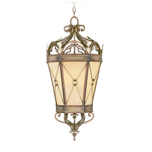 (Livex Lighting 8833-64 Pendant with Gold Dusted Art Glass Shades, Palatial Bronze with Gilded Accents)