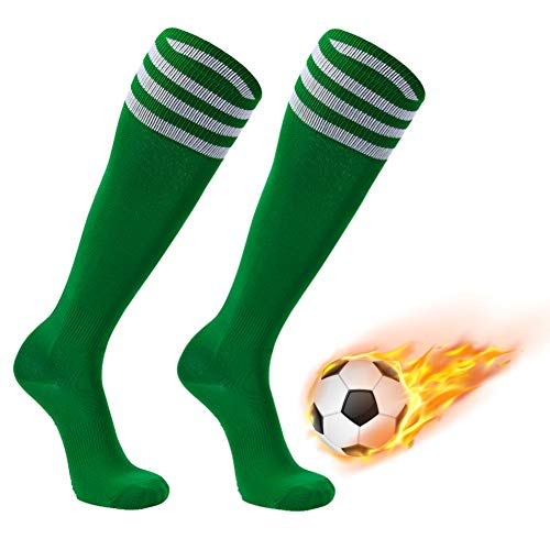 (FOOTPLUS Pro Soccer Socks, Over-Calf Compression Breathable Softball Rugby Baseball Team Socks Saint Patrick Dress for Boys, 2 Pairs Green+White Stripe, Large)