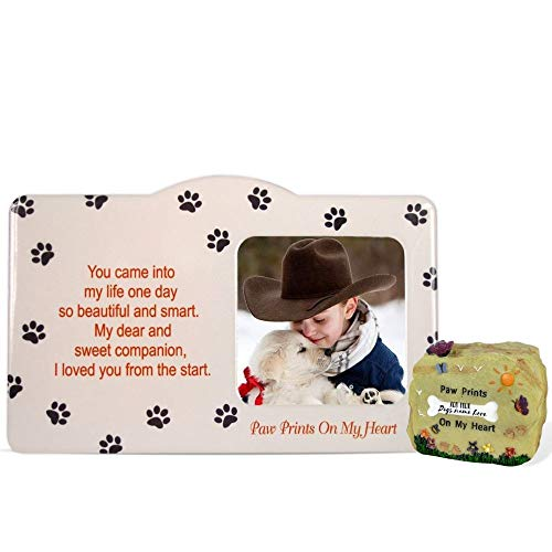 BANBERRY DESIGNS Pet Memorial Frame and Desktop Rock Gift Set - Paw Prints on My Heart Poem for The Loss of a Dog or Cat - Pet Sympathy -