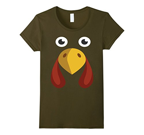 [Womens GIANT TURKEY FACE T-Shirt Funny THANKSGIVING Holiday Costume Small Olive] (Giant Olive Costume)