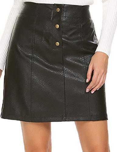 Mofavor Women's Button Front Classic High Waist A Line Faux Leather Mini Skirt ()