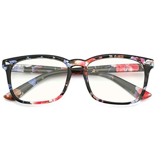 (Slocyclub Blue Light Blocking Glasses Vintage Nerd Square Keyhole Design Eyeglasses Frame for Women Men)