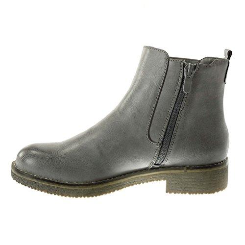 Angkorly - Zapatillas Moda Botines chelsea boots cavalier mujer cadena tachonado Tacón ancho 3.5 CM Gris
