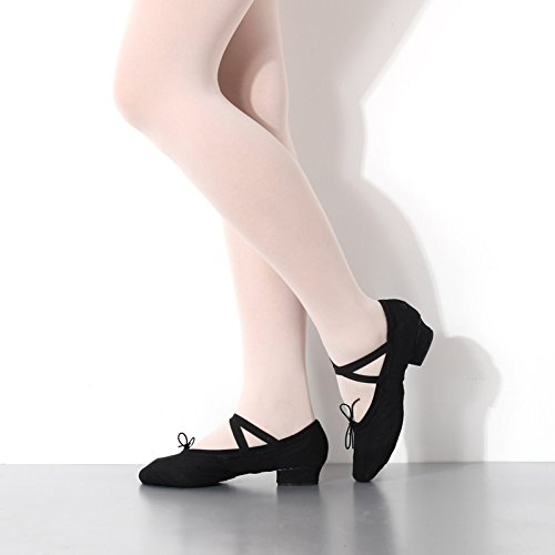 Amazon.com | Ruiyue Professional Canvas Ballet Shoes, Teacher Dance Shoes Soft Bottom Square Low Heel Dancing Shoes for Women | Ballet & Dance