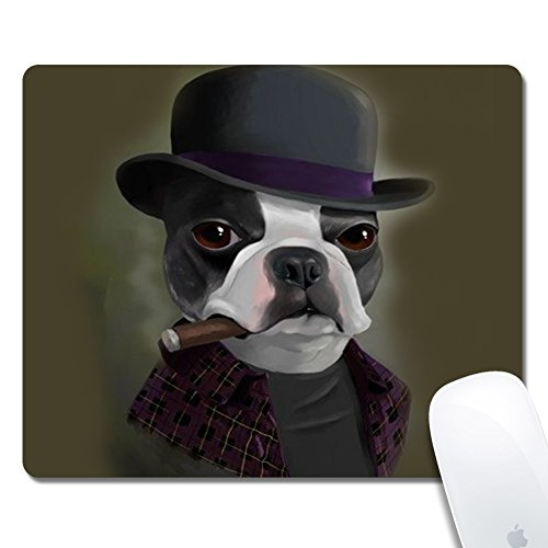 Rinda Customized Rectangle24x20x0.2cm Mouse Pad, Bowler Hat Terrier with Cigar, Non-Slip Rubber Gaming Mousepad, Durable & Comfortable Mouse Mat with Stylish Pattern