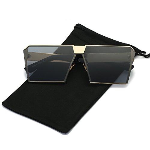 (LKEYE - Unique Oversize Shield Vintage Square Sunglasses LK1705 Gold Frame/Gray Lens)