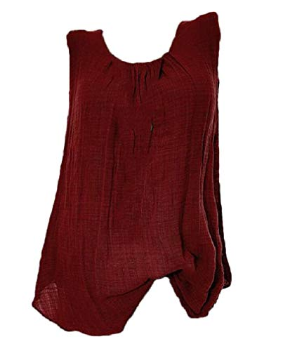 Vska Women Tunic Top Sleeveless Solid Colored Casual Print Tops Shirts Wine Red S