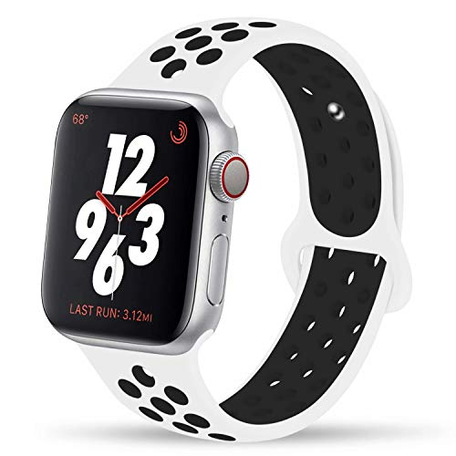 White Black Watch - YC YANCH Greatou Compatible for Apple Watch Band 38mm,Soft Silicone Sport Band Replacement Wrist Strap Compatible for iWatch Apple Watch Series 3/2/1,Nike+,Sport,Edition,S/M,White Black