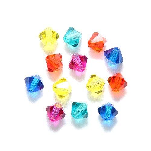 Preciosa 60-Piece Czech Crystal Bicone Beads Set, 6 by 6mm, Mix Kaleidoscope