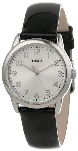 Timex Women's T2P1192M Silver-Tone Watch with Black Patent Leather Band