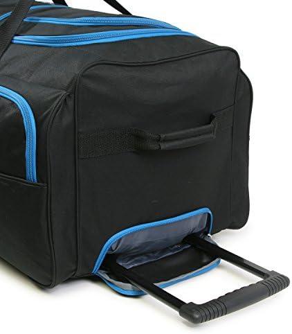 Fila 7-Pocket Large Rolling Duffel Bag, Black/Blue, One Size