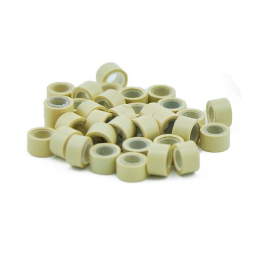 E-TING 1000 PCS 5mm Color Silicone Lined Micro Rings Links Beads Linkies for I Bonded Tipped Hair Extensions (Blonde)