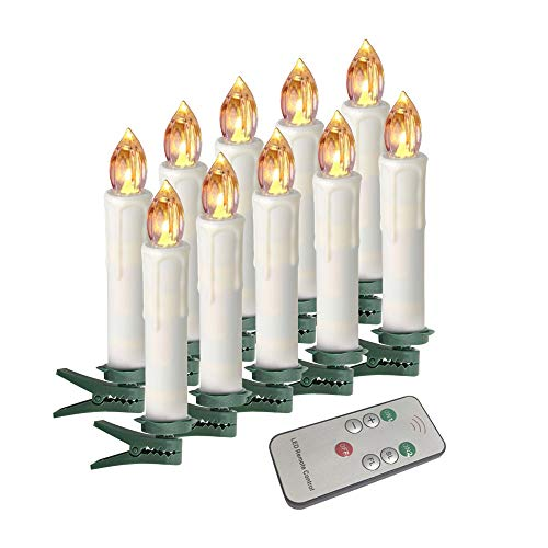 Houdlee LED Flameless Taper Candles with Remote Control and Removable Clips,Flickering 4 Inches Birthday Candles,Set of 10 Warm White Candle for Christmas, Chandelier, Mini Wedding Taper Candles Candle Christmas Tree Lights