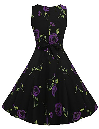 Dress 1950's Floral Rose Sleeveless Women's Garden Picnic Spring Party Purple ACEVOG Vintage zqEpwRg