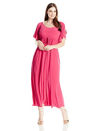 Star Vixen Women's Plus-Size Slit Flutter Sleeve Maxi Dress with Empire Drawstring Waist, Fuchsia, 3X