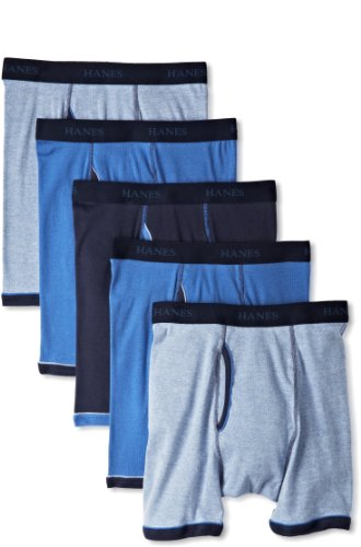 Hanes Men's Classics 5 Pack Exposed Waistband Ringer Boxer B