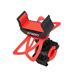 """Enkeeo Universal Bike Phone Mount Cell Phone Bicycle Holder Cradle with 360 Degree Rotation for iPhone 5/ 6/Plus, Samsung Galaxy S7/S6/5/4/3, Note 5/4/3/2 and GPS Device Up to 3.5"""" Wide"""