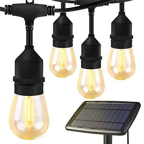 Torjim Solar String Lights - 48 Ft Heavy Duty Patio Waterproof LED Outdoor String Lights, 15 Hanging Sockets, Shatterproof, 16 Edison Bulbs for Backyard Porch Cafe Garden (Bulb Solar Lights String)