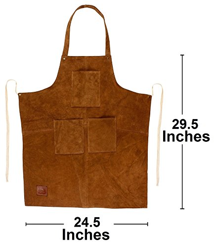 Rustic Town Genuine Leather Grill Work Apron with Tool Pockets ~ Adjustable up to XXL for Men & Women ~ Gift Ideas for Him Her (Tan) by Rustic Town (Image #1)