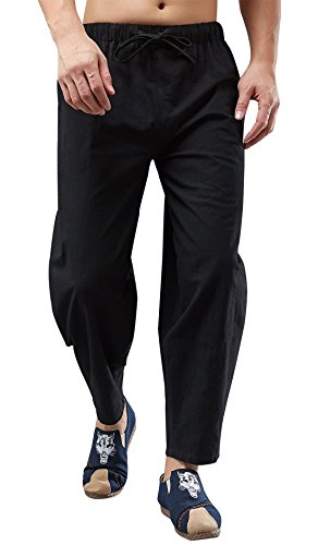 MAFANBUY Mens Womens Cotton Hemp Harem Trouser, Solid Color Soft Elastic Waistband Baggy Gym & Yoga Pants Handmade Boho Casual Elastic Waist Harem Pants XL - Black