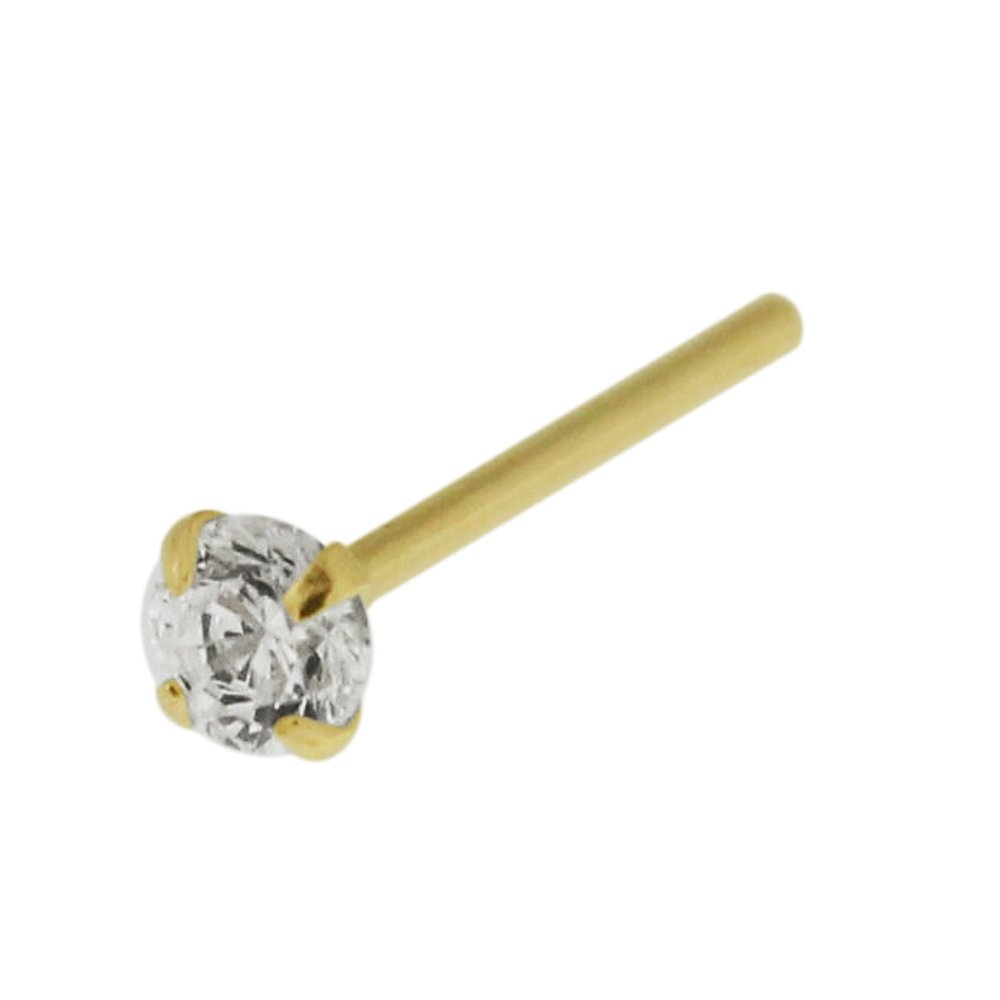 AtoZ Piercing 14K Solid Yellow Gold Prong Set 2.5MM Round CZ Stone 20 Gauge - 12MM Length Straight Nose Stud Jewelry