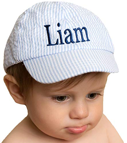 - Melondipity Blue Seersucker Baseball Hat for Baby and Toddler Boys - Personalized