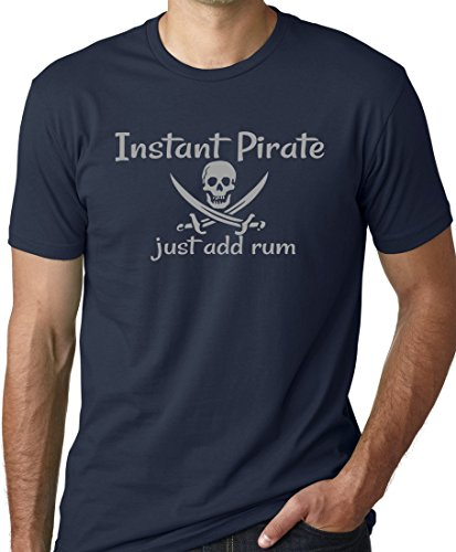 (Think Out Loud Apparel Instant Pirate Just Add Rum Funny Drinking T-Shirt Navy L)