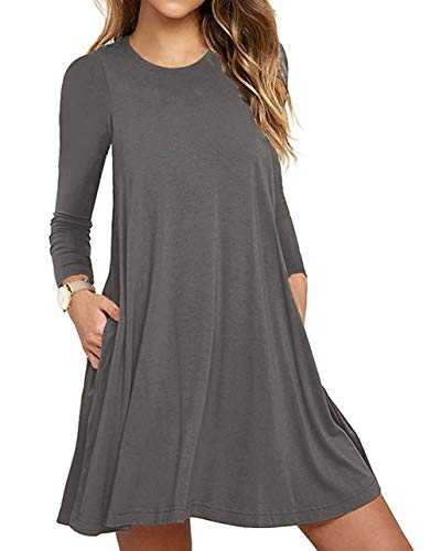 Unbranded* Women Long Sleeve Round Neck Summer Casual Loose Dress Gray XX-Large