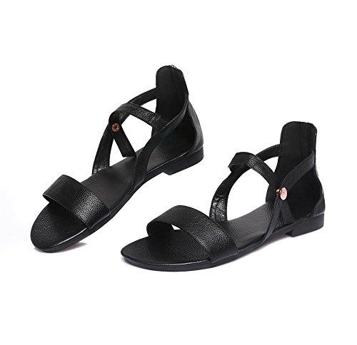AalarDom Womens Open-Toe Low-Heels PU Solid Sandals Black PxPA0lpIsn