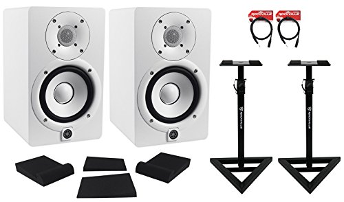 Package: (2) Yamaha HS5 W White 2-Way Bi-Amplified Nearfield Studio Monitors + Auralex MOPAD Studiofoam Monitor Isolation Pad + Pair of Rockville RVSM1 Heavy Duty Near-Field Studio Monitor Stands + 2) Rockville RCXMB6-B 6' XLR to 1/4