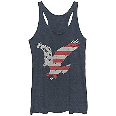 Lost Gods Women's Fourth Of July Flying Eagle American Stripe Racerback Tank Top
