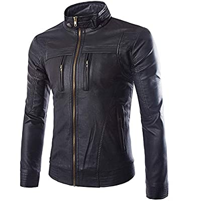 GOVOW Hooded Jacket for Men Black Autumn Winter Casual Long Sleeve Solid Stand Zipper Leather Top