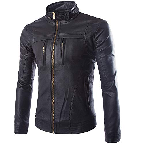 iYBUIA Leather Jackets for Men Winter Sale Casual Long Sleeve Solid Stand Zipper Top