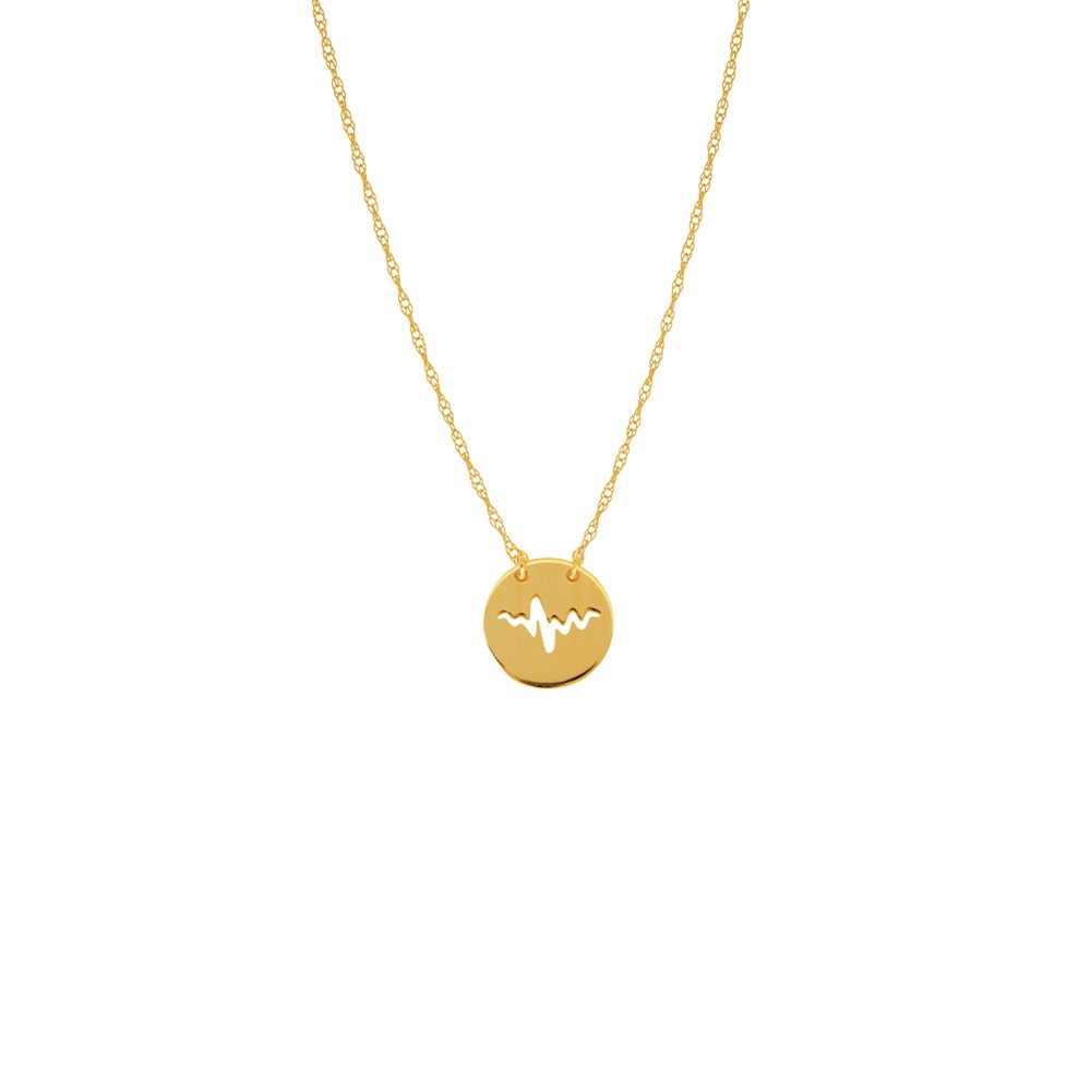 HEARTBEAT NECKLACE, 14KT GOLD HEARTBEAT NECKLACE 18'' INCHES