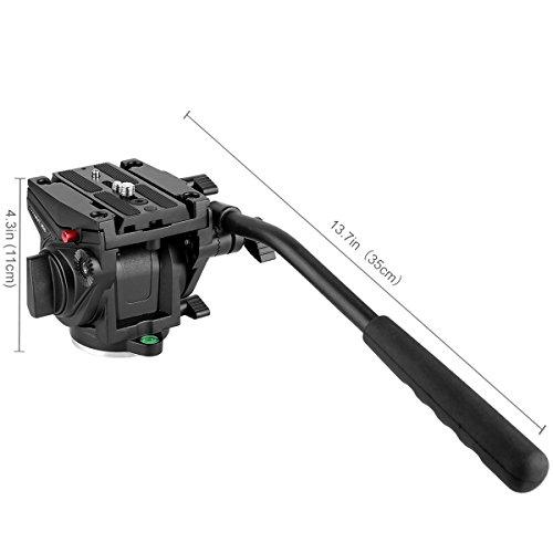 Heavy Duty Video Camera Fluid Drag Head,KINGJOY Fluid Drag Pan Tilt Head for DSLR Camera Video Camcorder Shooting Filming