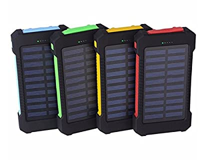 Solar Power Charger | 20,000 MAh 2 Port Portable Solar Power Bank Rapidly Charges | Waterproof/Shockproof/Dustproof Dual USB Battery Bank Charger Supports Dual USB Devices