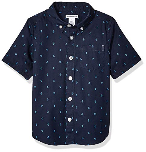 Amazon Essentials Toddler Boys' Short-Sleeve Poplin/Chambray Shirt, Anchor Navy Palace, 3T
