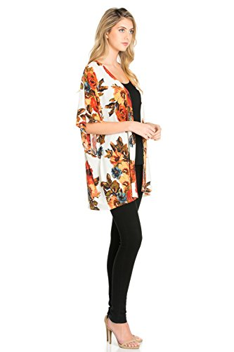 7d426c88f5 Frumos Womens Open Front Short Sleeve Printed Cardigan Sweater Made In USA