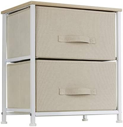 Ornavo Home 2 Drawer Vertical Storage Dresser Tower – Maple Wood Top – Sturdy Metal Frame – Linen Fabric Storage Bins with Pull Tabs – Organizer Unit for Hallway, Entryway, Closets and Bedroom – Beige