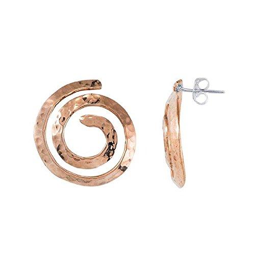 - BOHO Copper Hammered Swirl Dangling Circle Stud Earrings – 23mm Copper Hoop Dangle Jewelry – Loop Style