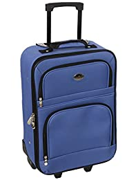 Jetstream 20 Inch Lightweight Luggage Softside Carry On Suitcase (Blue)