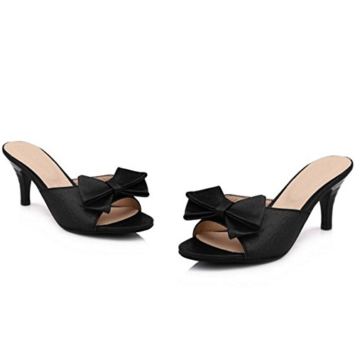 TAOFFEN Mujer Moda sin Cordones Zapatos Bowknot Talon Abierto Tacon Alto Sandalias 937 Negro