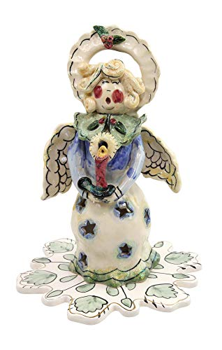 Clayworks Blue Sky by Heather Coldminc 2001 Christmas Caroler Angel Tealight Holder with Base (CL20030)