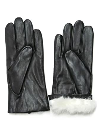 Fownes Women's Rabbit Fur Lined Black Napa Leather Gloves 6.5/S