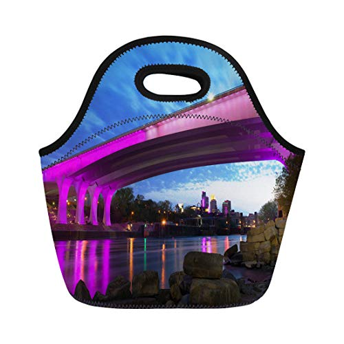 - Semtomn Lunch Bags Blue District Minneapolis Minnesota 35W Bridge in Deep Purple Neoprene Lunch Bag Lunchbox Tote Bag Portable Picnic Bag Cooler Bag